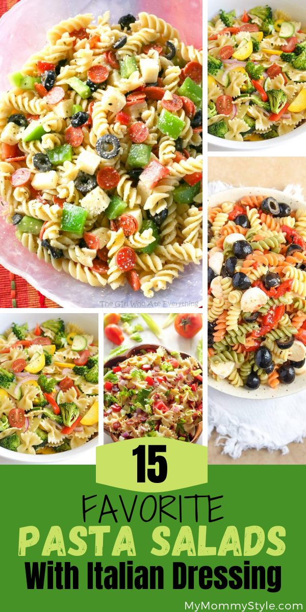 This is a round up of our favorite pasta salads made with Italian dressing from around the internet. They are tangy and satisfying and would make a great addition to your next party, potluck or BBQ. #pastasaladswithitaliandressing. via @mymommystyle