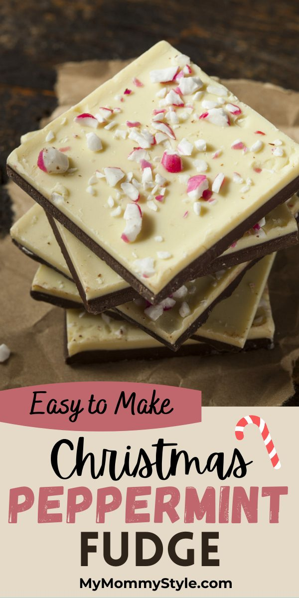 Learn how to make peppermint fudge for the holidays with this easy recipe. A white and dark Chocolate treat sprinkled with peppermint sticks. #peppermintfudge #howtomakepeppermintbark #Christmasbark #Christmaspeppermintbark via @mymommystyle