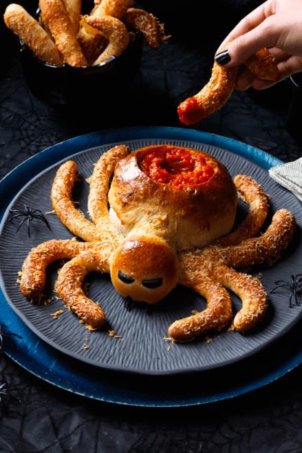 saucy spider Halloween appetizer
