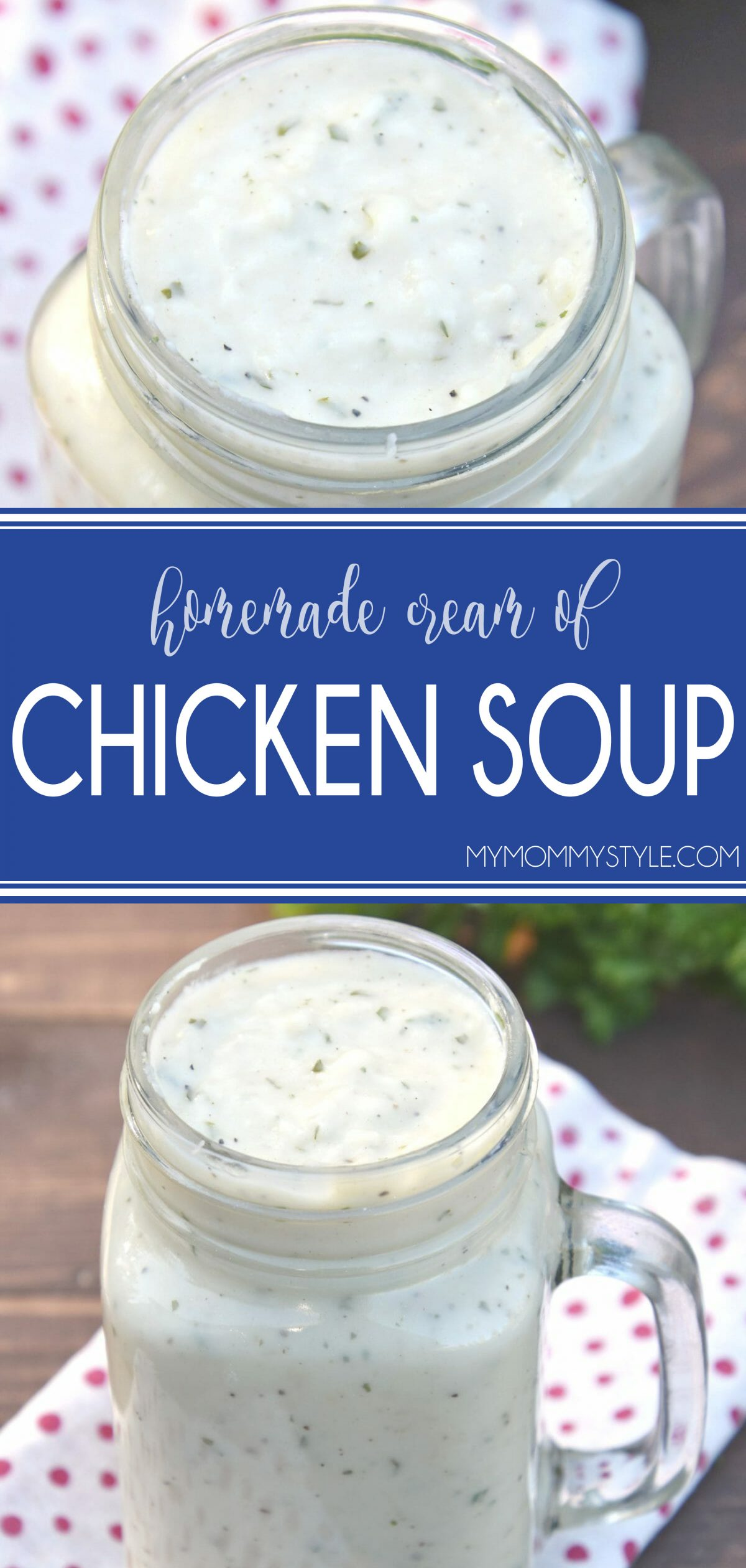 A great tasting and fast homemade cream of chicken soup to substitute one 10.75 can condensed cream of chicken soup.Just a few ingredients and so easy! via @mymommystyle