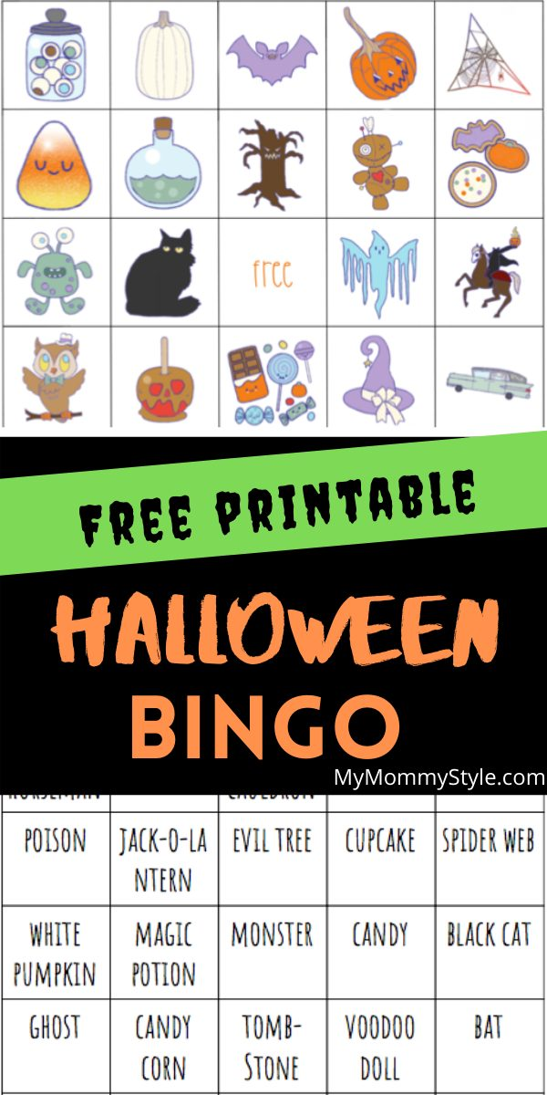 Halloween Bingo is perfect for any spooky party at any age. You can't go wrong with a free printable game complete with calling cards. #halloweenbingo #freeprintablehalloweenbingo #halloweenbingocards via @mymommystyle