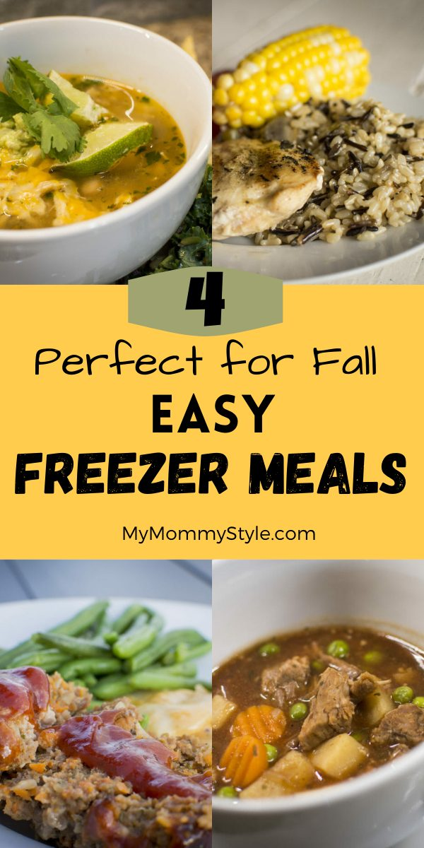 Warm up with these four fall friendly easy freezer meals. Simply take out a meal from the freezer to prepare a fast homemade dinner. #easyfreezermeals #freezermealrecipes via @mymommystyle