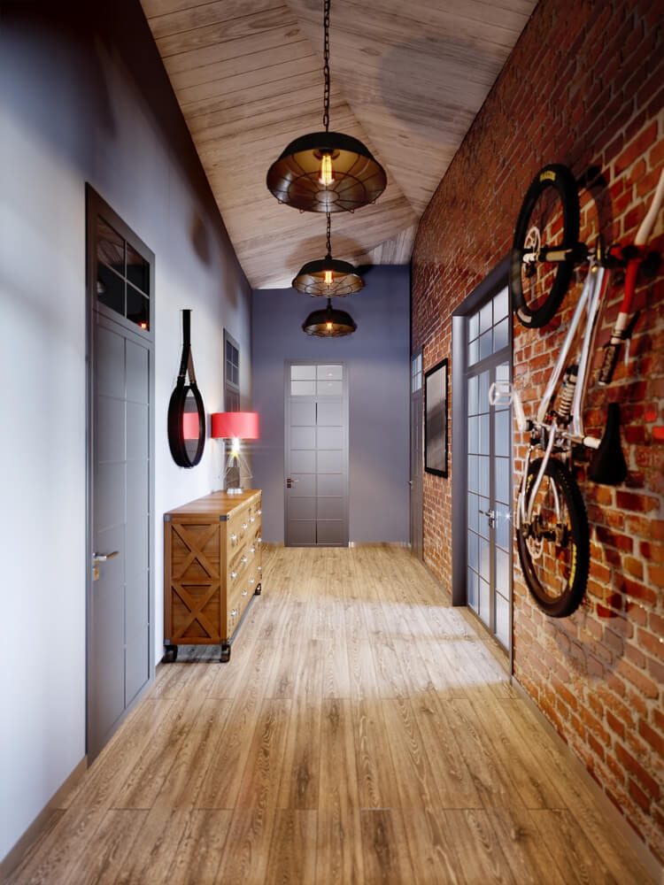 well-lit hallway with industrial design style