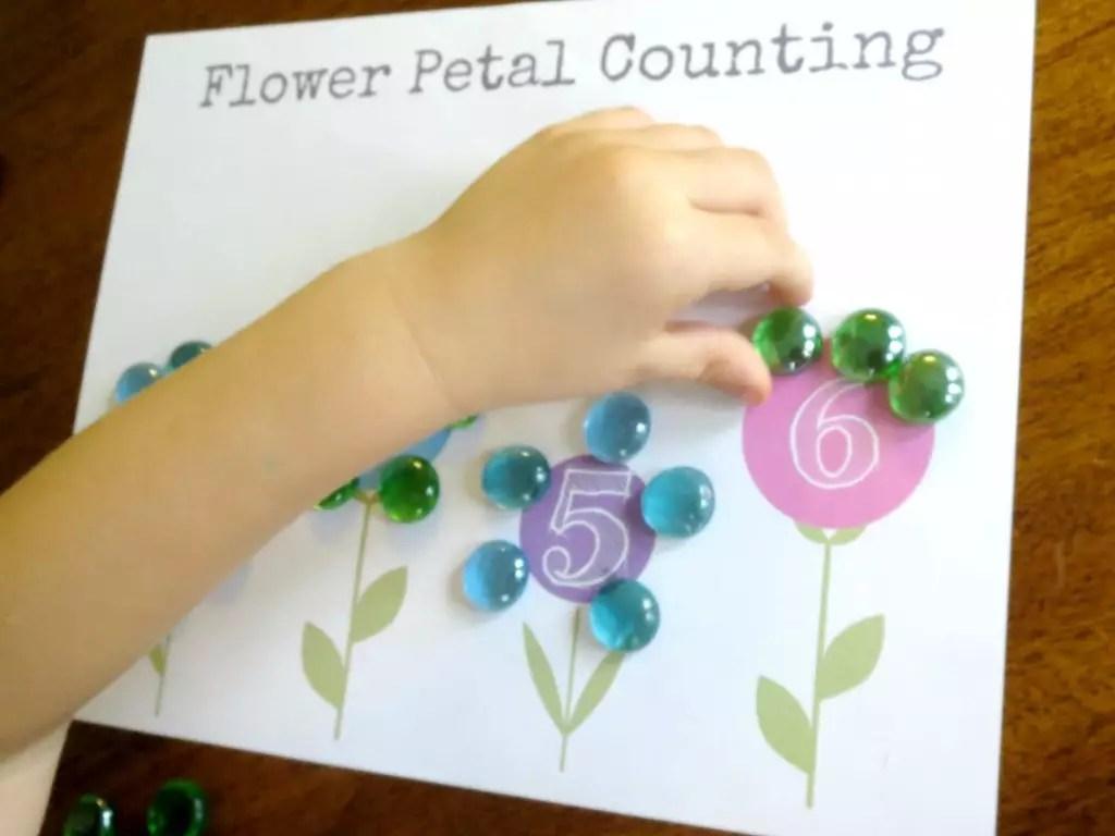 Plant Theme Preschool Math Flower Petal Counting Free