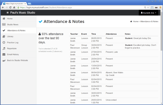 View Attendance & Notes