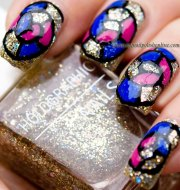 nail art - stained glass