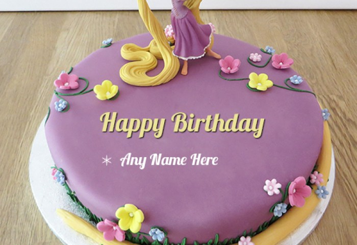 Barbie Doll Girl Birthday Cake With Name
