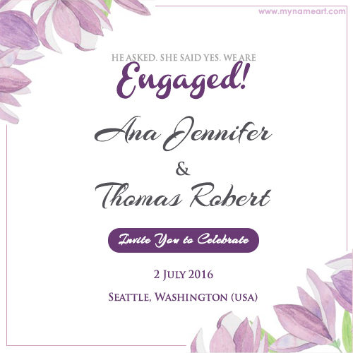 Write Name On Fl Engagement Invitation Card Pictures