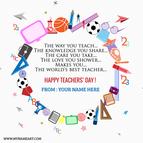 Write Name On Teachers Day Wishes Picture