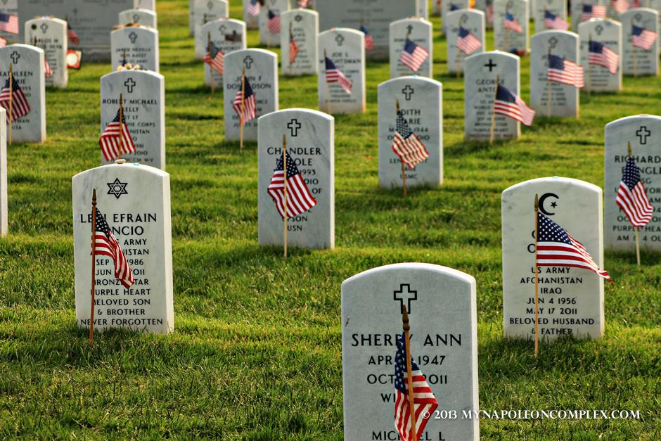 Tombs in Arlington during Memorial Day weekend.