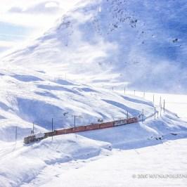 Picture of Rhaetian Railway along the Bernina Pass, Switzerland.