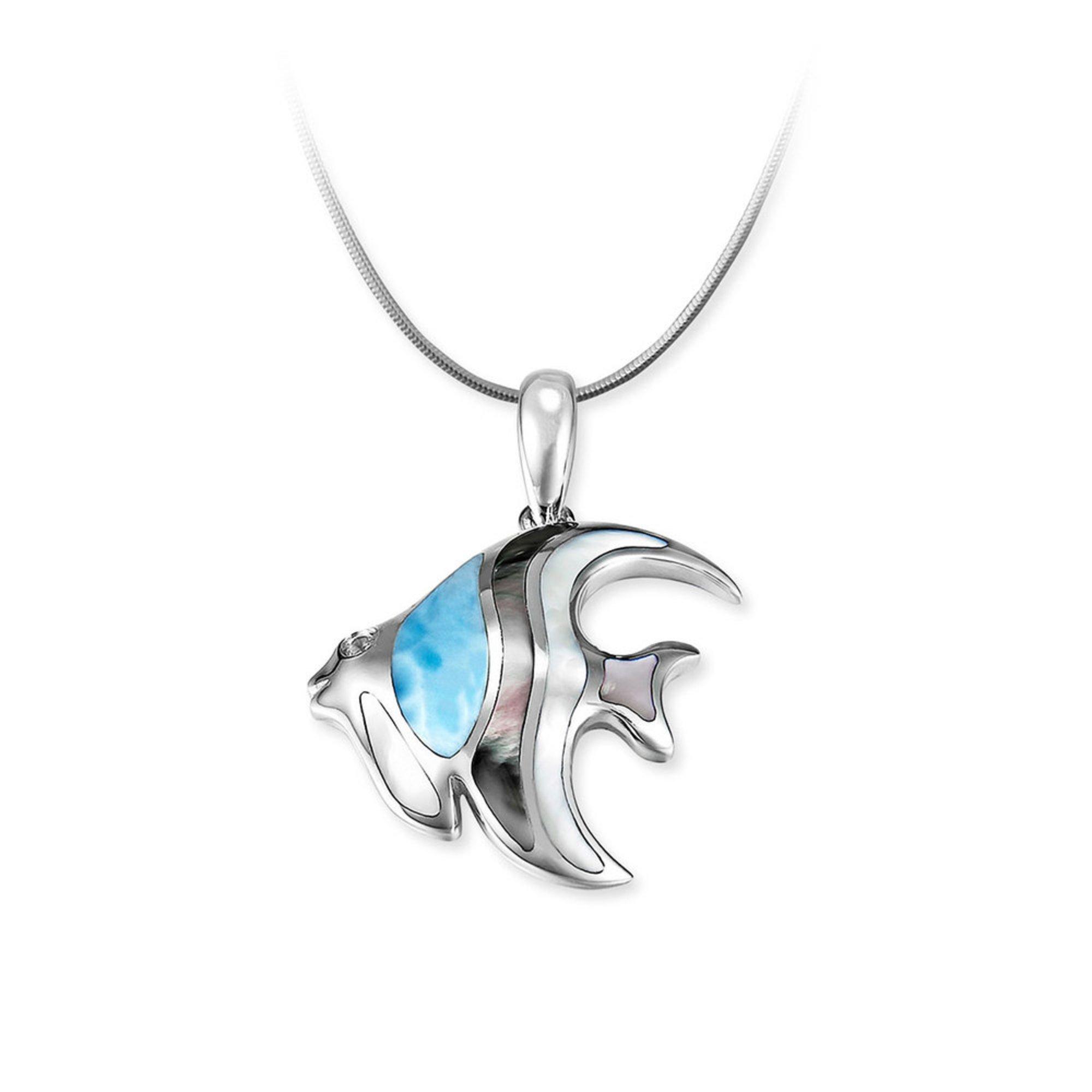 Marahlago Sterling Silver Larimar Angelfish Necklace