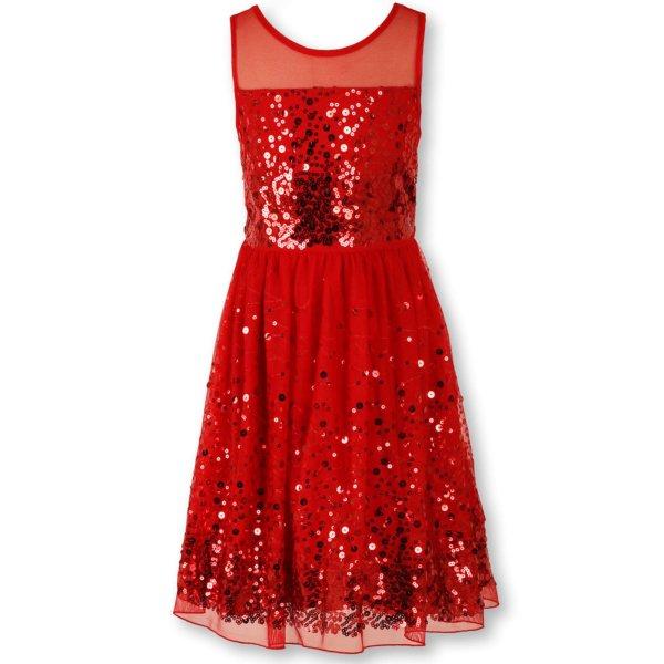 Speechless Big Girls' Sequin Dress Red Girls