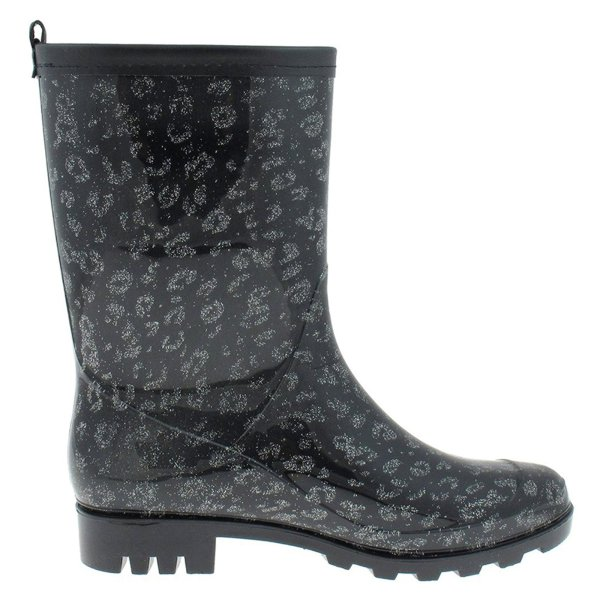 Capelli Glitter Leopard Women' Mid Calf Rainboot Black