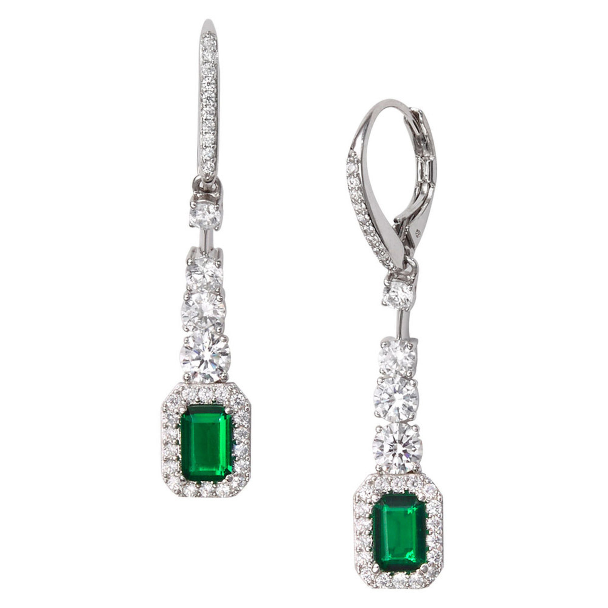 Nadri Zelda Emerald Drop Lb Earrings, Silver Tone