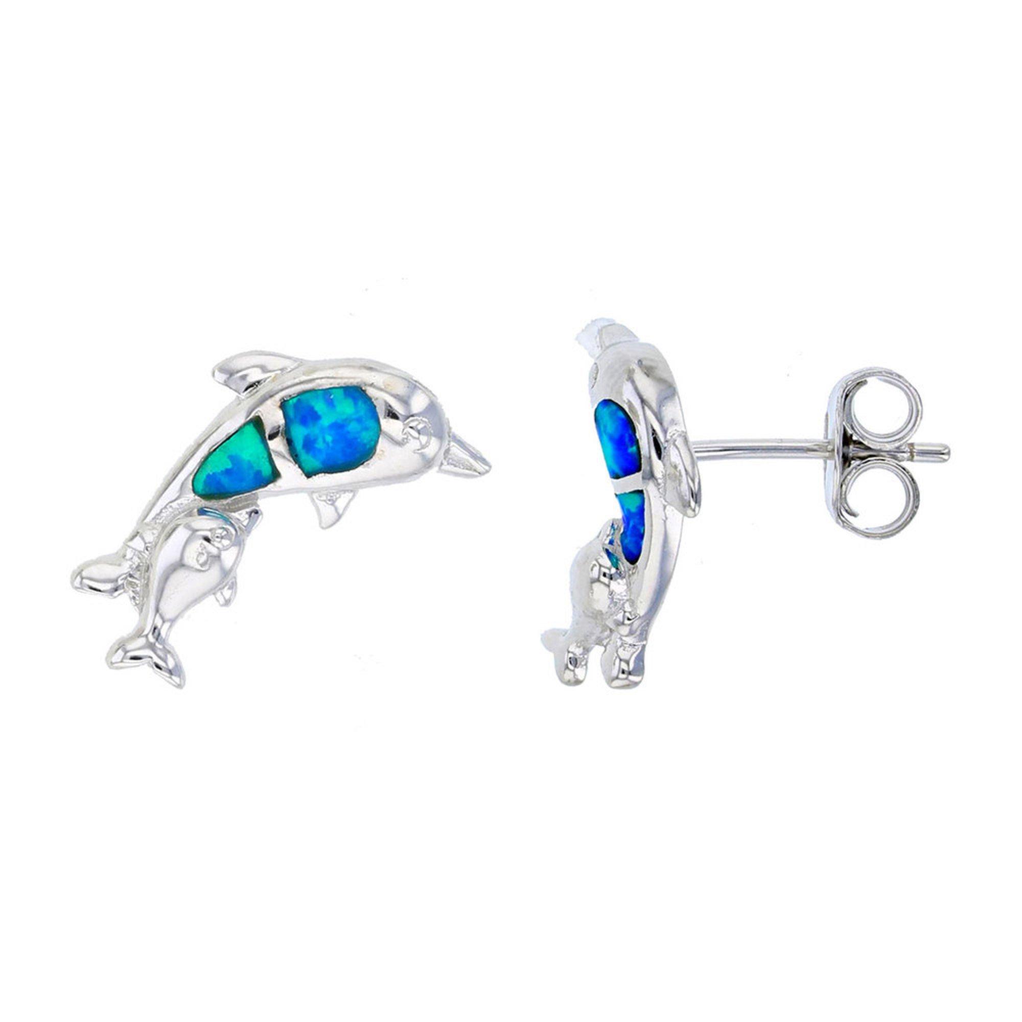 Bijoux Du Soleil Created Opal Dolphin Earrings, Sterling