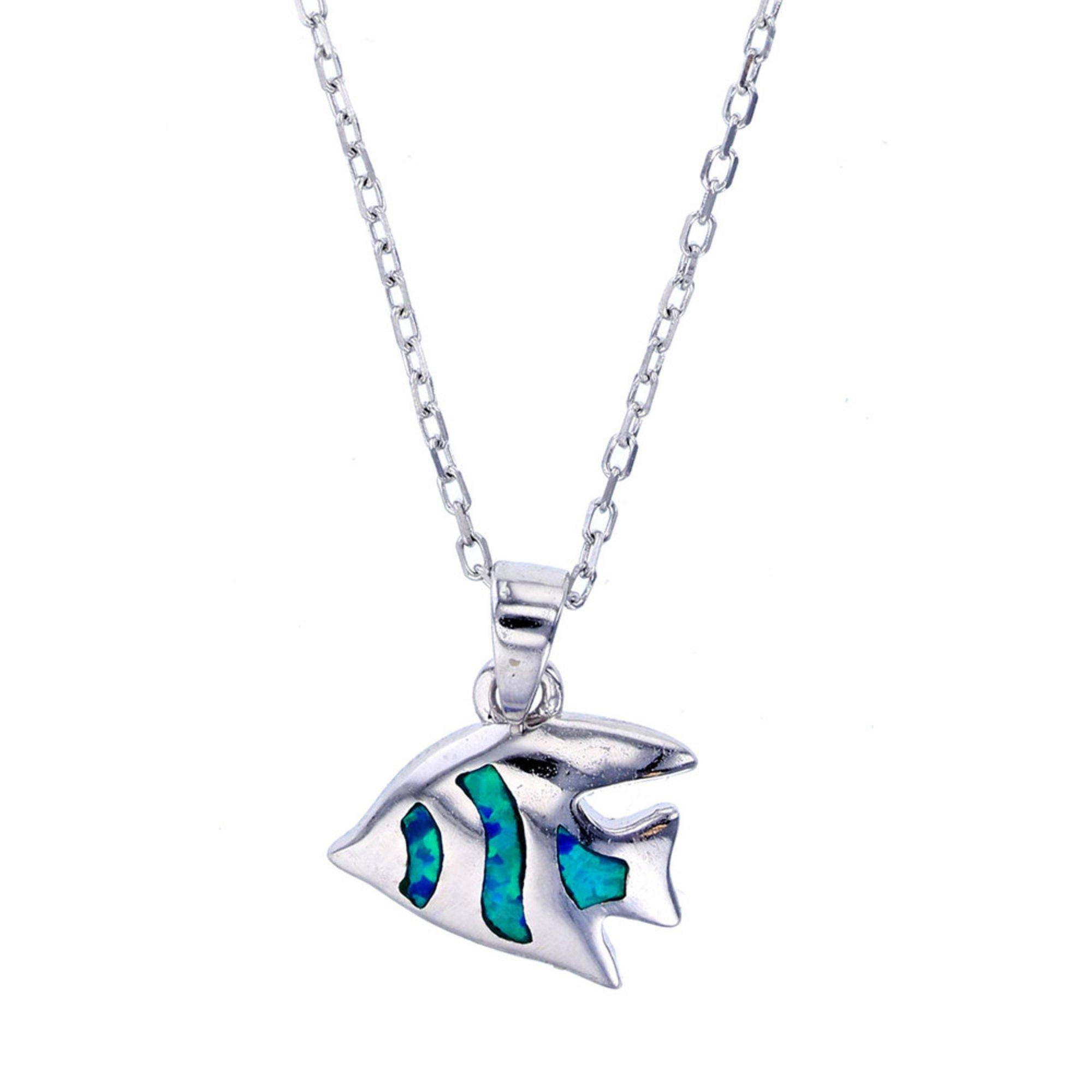 Bijoux Du Soleil Created Opal Angelfish Pendant, Sterling