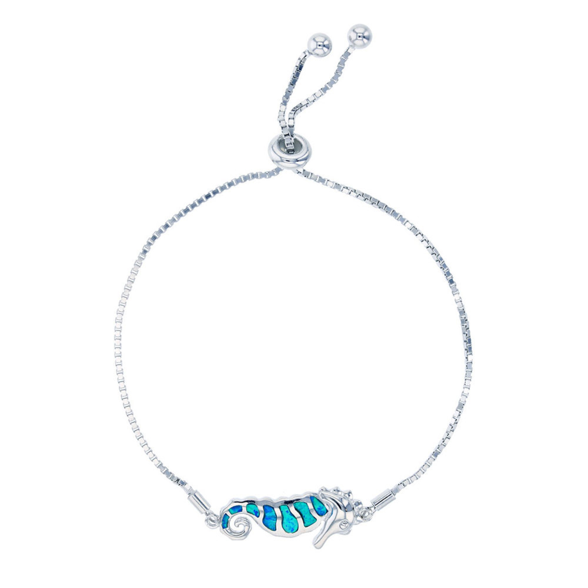 Bijoux Du Soleil Created Opal Seahorse Bracelet, Sterling