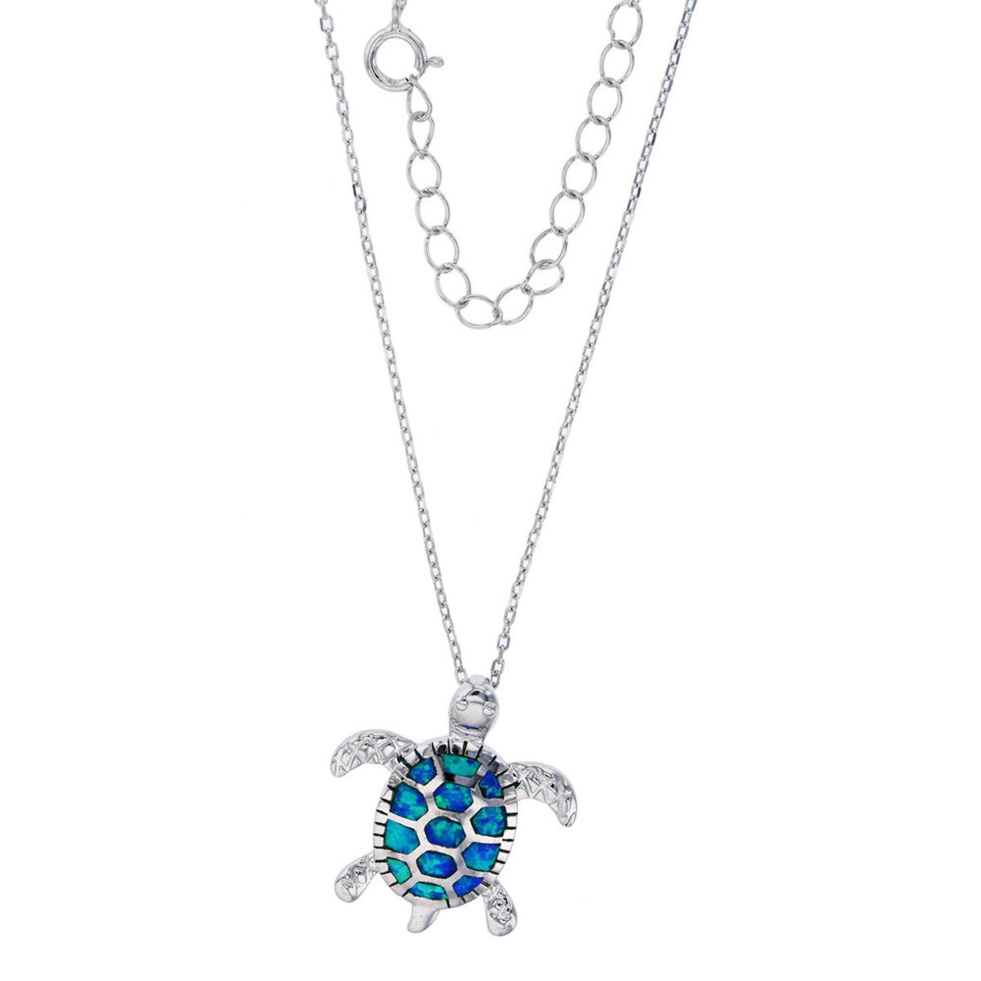 Bijoux Du Soleil Created Opal Turtle Pendant, Sterling