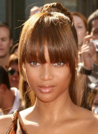 Tyra Banks Sleek Bangs and Updo  My New Hair