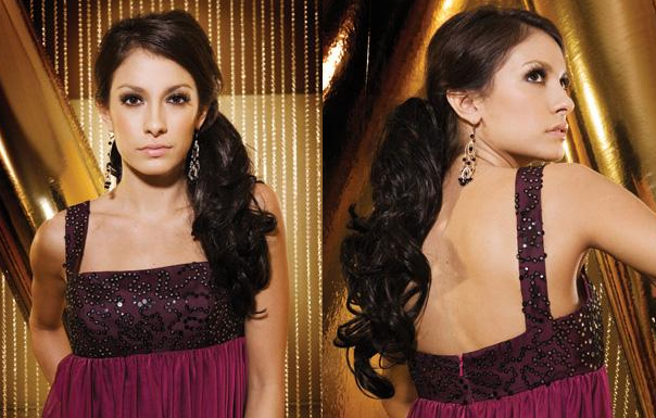 If you have gorgeous long hair consider trying it up in a low side ponytail
