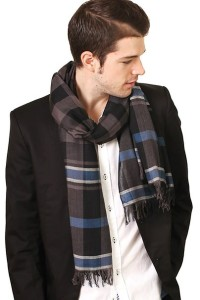 Men's Adam Handsome Black Blue Check Stripe Premium Weave Fashion Scarf