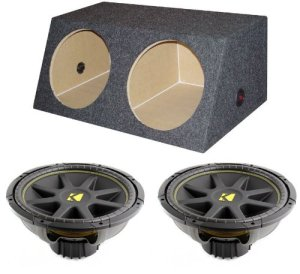2) KICKER 10C124 12 600W Car Audio Subwoofers Subs 4 Ohm + Dual Sealed Sub Box