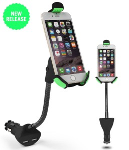 Car Mount, EnergyPal HC84K Car Smartphone Holder with Dual USB 2.1A Charger With Over Charge and Over Current Protection