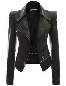 Doublju Women's Faux Leather Power Shoulder Jacket