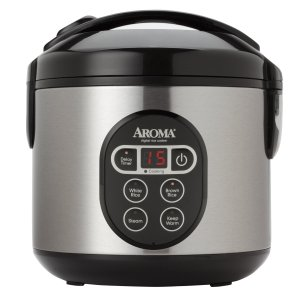 Aroma 8-Cup (Cooked) (4-Cup UNCOOKED) Digital Rice Cooker Food Steamer, Stainless Steel Exterior (ARC-914SBD)