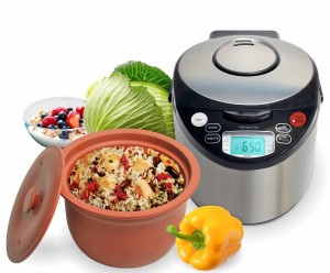 VitaClay VM7900-8 Smart Organic Multi-CookerRice Cooker, Brushed Stainless Steel and Black