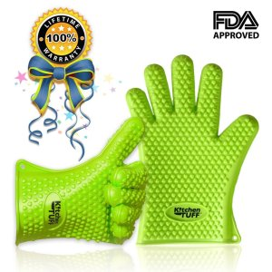 KitchenTUFF Highest Rated Silicone Oven Mitt and Cooking Gloves for BBQ Grill are Heat Resistant, Waterproof Kitchen Gadgets, Potholders and Kitchen Accessories - Reg Size - Green