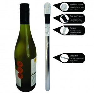 Wine Chiller BlizeTec 3-in-1 Stainless Steel Wine Bottle Cooler Stick with Aerator and Pourer