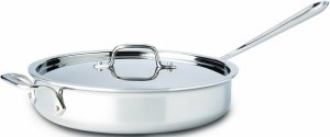 All-Clad 4403 Stainless Steel Tri-Ply Bonded Dishwasher Safe Saute Pan with Lid Cookware, 3-Quart, Silver