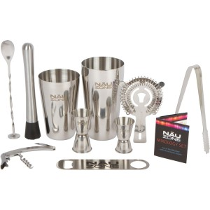 Bar Set Premium Boston Shaker Barware Set - 10 Piece Bartender Kit Includes Bar Kit Supplies for Professional Drink Mixing. (10 Piece Bar Tool Set)