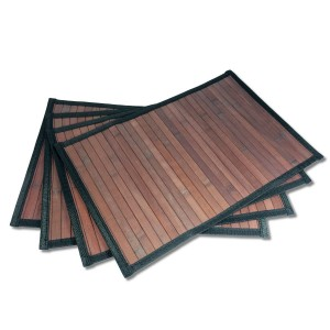 Stylish Wide Slat Bamboo Placemat - Dark Brown - Black Border by Sustainable Simplicity, 4pc Set