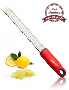 Zester, Raniaco Stainless Steel Grater, Cheese, Lemon, Ginger & Potato Zester with Plastic Cover, Long Ergonomic Handle with Rubber Base