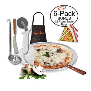 TigerChef TC-20516 Homemade Pizza Making Kit, 6-Piece Pizza Pro Set, Includes 12 Single Portion Pizza Pan, Pizza Screen, Pizza Wheel, Pizza Server, Sauce Ladle, Apron