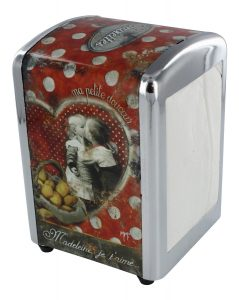 French Napkin Dispenser Madeleines - Diner Style - H 6 X L 4 X W 4 - Plus a Refill Bag