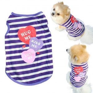 Mosunx(TM) Fashion Pet Puppy Summer Shirt Small Dog Cat Pet Clothes Stripe Vest T Shirt