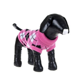 PanDaDa Pet Dog Bones Pattern Warm Sweater Knitwear Coat Clothes Outwear Pink