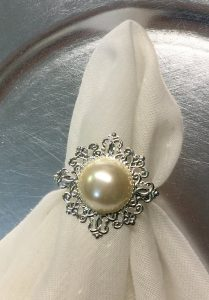 Set of 6 - Silver with Pearl Napkin Rings