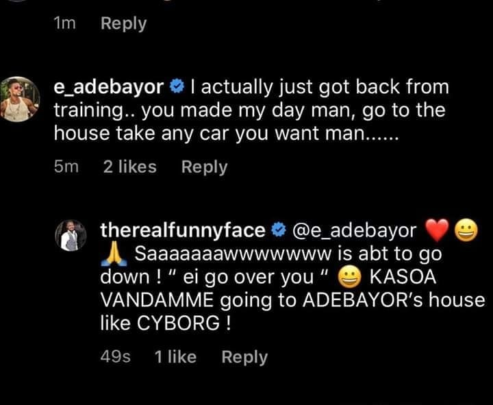 Funny Face gets new car from Adebayor 1