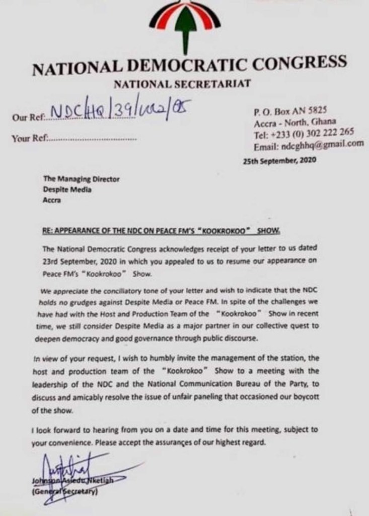 NDC spells out conditions Peace FM must meet before it returns to Kokrokoo show 2