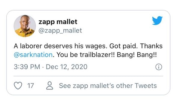 Sarkodie Finally settles his indebtedness to Zapp Mallet 1