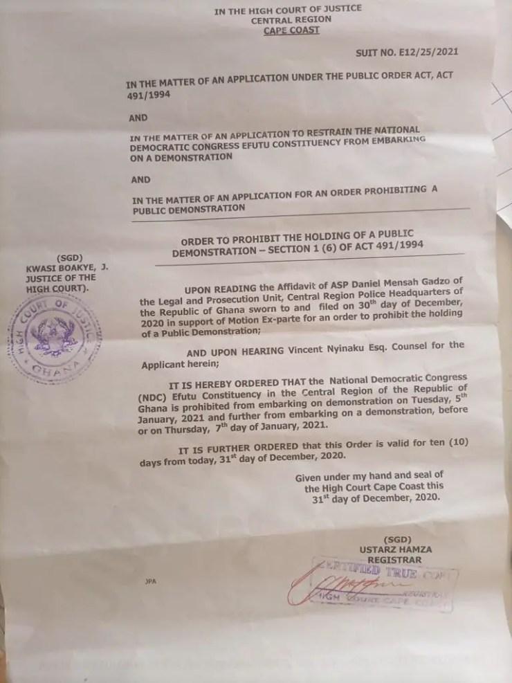 Halt demo against EC, Jean Mensa – High Court orders NDC 1