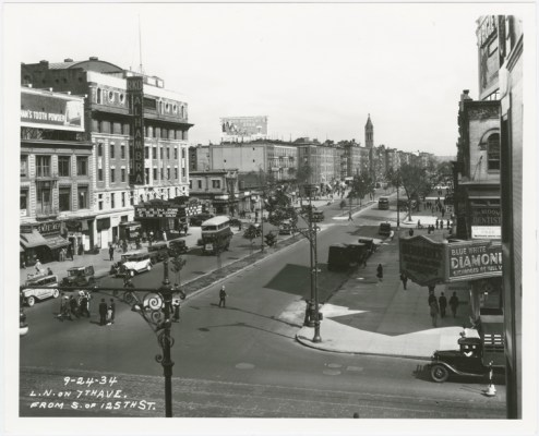 125th Street facing North on 7th Ave aka MLK Blvd in 1934/NYPL Digital Collections