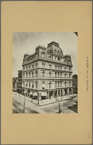 Old Masonic Temple built in 1875 (photo taken 1875) at the Northeast corner of 6th Avenue and 23rd Street and later replaced with the newer tower below in 1911/NYPL Digital Collections
