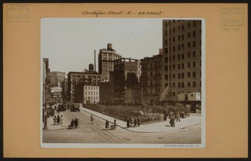 Christopher Street facing 6th Avenue from 7th Ave. in the distance you can see the 6th Ave El circa 1928/NYPL Digital Collections