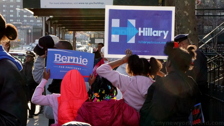 Watch: Bernie Sanders Supporters Overwhelm Hillary Supporters at Dem Debate Rally